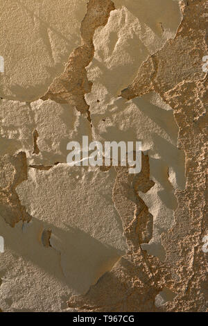 cracked yellow pebbledash wall, dirty and old cracked damaged plaster wall background lit by the midday sun - Stock Image