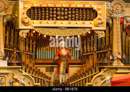 Interior of the Amersham Fair Organ Museum in Buckinghamshire, UK. Close-up of an instrument manufactured by Marenghi of Paris. - Stock Image