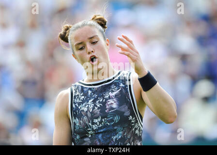 Eastbourne, UK. 25th June, 2019. Maria Sakkari of Greece looks frustrated against Johanna Konta of Great Britain during their second round match the Nature Valley International tennis tournament held at Devonshire Park in Eastbourne . Credit: Simon Dack/Alamy Live News - Stock Image