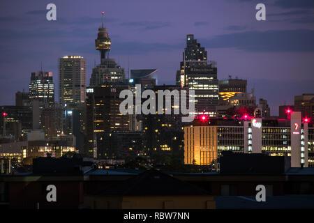 sydney city skyline just before dawn - Stock Image