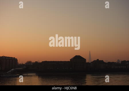 Sunset, River Thames, from Canary Wharf, London UK - Stock Image