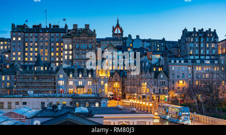 Evening view of  historic buildings in Edinburgh Old Town , Scotland, UK - Stock Image