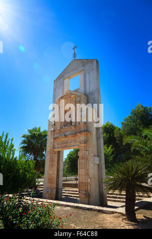 The monument to the original church in the newly created village of Tous in Valencia Community Spain - Stock Image