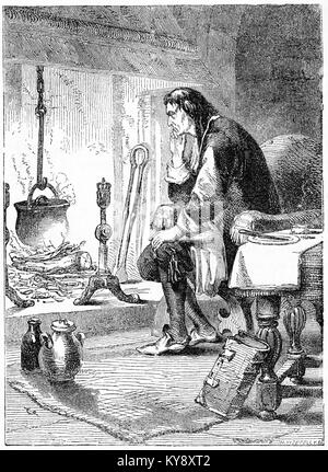 Engraving of James Watt studying the power of steam, which led to his improvement of steam power and the rise of - Stock Image