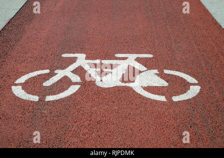 Bicycle lane signage - Stock Image