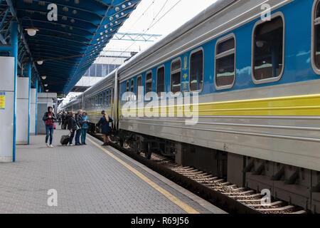 train station with passengers train departure Ukraine, Kiev 20.10.2018 - Stock Image