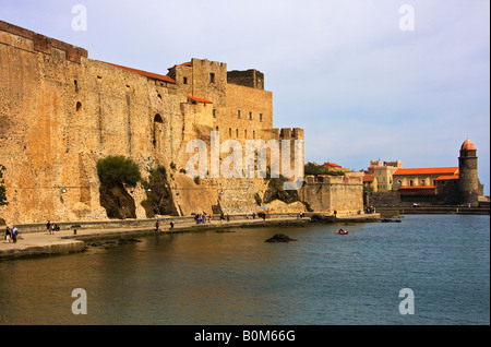 stone walled fort structure at charming seaport village of Collioure France - Stock Image