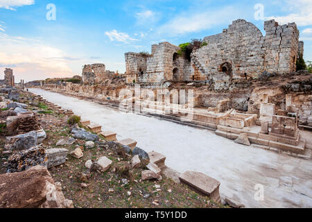 Perge was an ancient Anatolian city, now located near the Antalya city in Turkey - Stock Image
