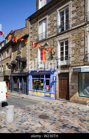 Two cafes near the Victor Hugo theatre in Fougéres, Brittany, France - Stock Image