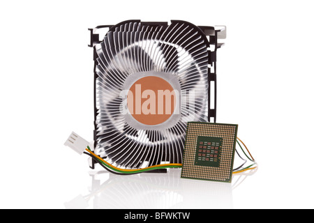 CPU and CPU Cooler isolated on a white background - Stock Image