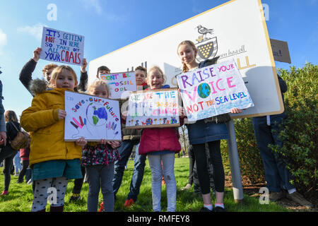 County Hall, Truro, Cornwall, UK. 15th Feb 2019. Students of all ages were outside Truro Country hall today striking for Climate change. Credit: Simon Maycock/Alamy Live News - Stock Image