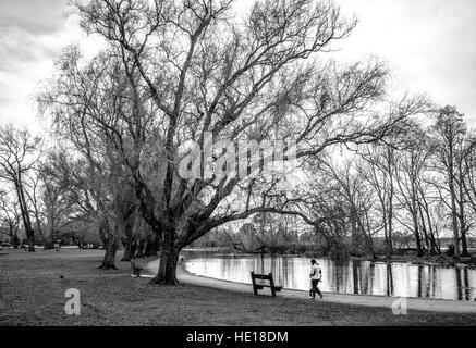 Unidentified woman and child walk along the lakeside on a cold winter day. Black and white. B&W - Stock Image