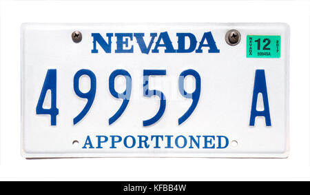 Nevada license plate; vehicle registration number. Nevada number plate. Nevada Apportioned license plate. - Stock Image