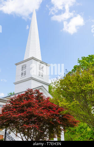 JONESBOROUGH, TN, USA-4/28/19: Church steeple, with colorful spring red and green trees in foreground, sunny blue sky. - Stock Image