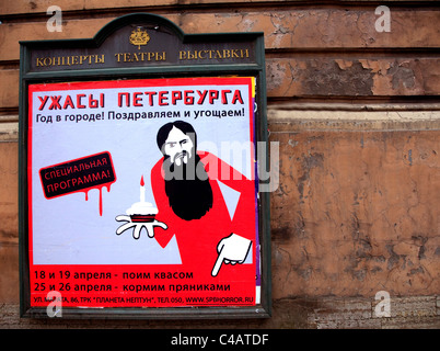 Russia, St.Petersburg; A poster displaying a show with an illustration of a Jew - Stock Image