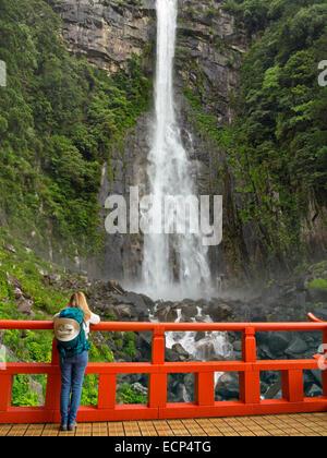 Visitor views Great Falls of Nachi, the Nachi-taki waterfall on Kumano Kodo Pilgrimage Trail, Kii Peninsula, Wakayama, - Stock Image