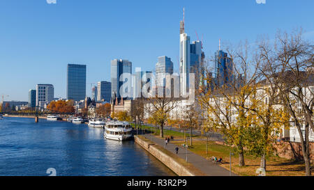 Frankfurt am Main, view from the Alte Brücke. 18th November 2018. - Stock Image