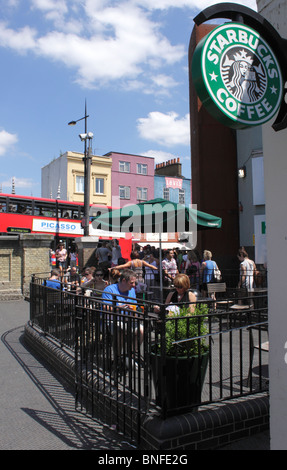 Starbucks Coffee shop Camden Town London summer 2010 - Stock Image
