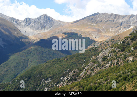 View  from Monte Sibillaover the rolling mountains of the Sibillini National park Le Marche Italy - Stock Image