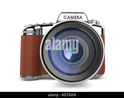 Non branded SLR camera vintage retro style. Front view. 3D render. - Stock Image
