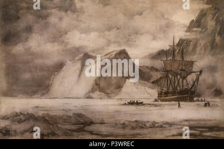 A Whaler in the Ice, Chopping Out, William Bradford, after 1869, Museum of Fine Arts, Boston, Mass, USA, North America - Stock Image