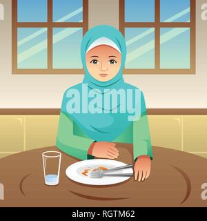 A vector illustration of Muslim Woman Finished Eating - Stock Image