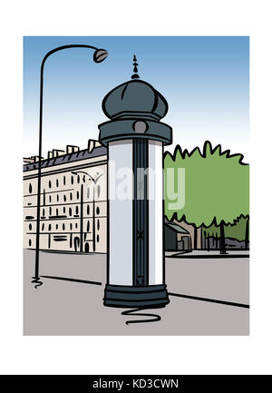 Illustration of a Morris column in Paris, France - Stock Image