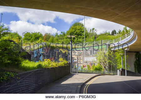 Murals on a road flyover abutment at Pontypool, Torfaen. Gwent, Wales, UK - Stock Image