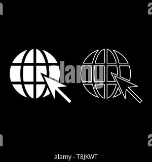 Earth ball and arrow Global web internet concept Sphere and arrow Website symbol icon outline set white color vector illustration flat style simple - Stock Image