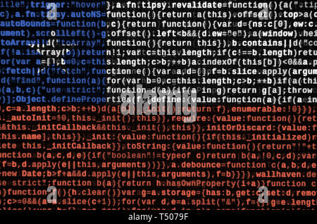 Chile flag  is depicted on the screen with the program code. The concept of modern technology and site development. - Stock Image