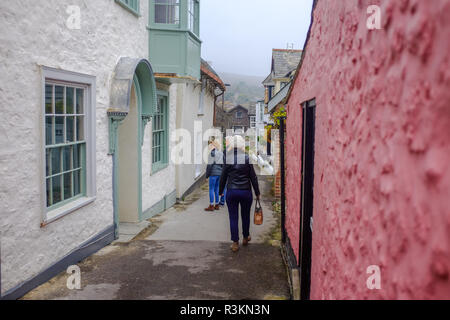 Famous Sherborne Lane dating back to 774 AD in Lyme Regis West Dorset UK - Stock Image