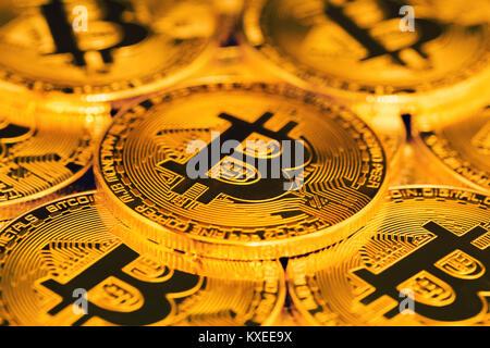 close up of bitcoins - Stock Image