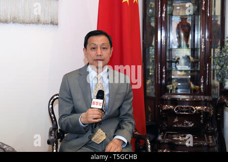 Kuwait City, Kuwait. 24th Apr, 2019. Chinese Ambassador to Kuwait Li Minggang is seen in an interview with Xinhua in Kuwait City, Kuwait, on April 24, 2019. The cooperation between China and Kuwait has entered a period of fast development under the framework of Belt and Road Initiative (BRI), Chinese Ambassador to Kuwait Li Minggang said in an interview with Xinhua. Credit: Nie Yunpeng/Xinhua/Alamy Live News - Stock Image