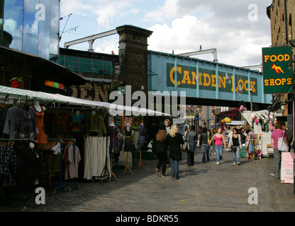The Railway Bridge Over Camden High Street from Camden Market. - Stock Image