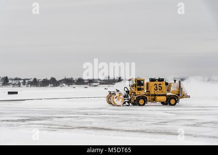 Snow Plow Small Regional Airport In Winter, Pennsylvania, USA - Stock Image