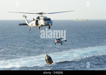 Sea Hawk helicopters move supplies. - Stock Image