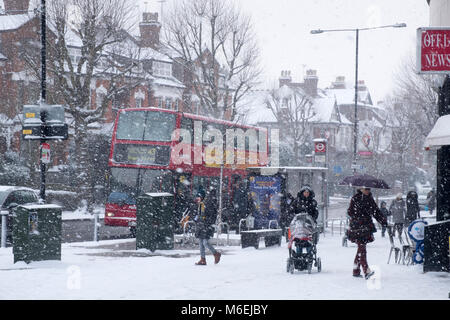 The 'Beast from the East' severe cold weather and snow end of February and beginning of March 2018 - Stock Image