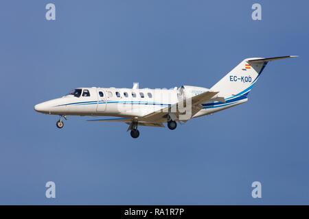 Barcelona, Spain - December 06, 2018: TAG Aviation Cessna 525B CitationJet CJ3 approaching to El Prat Airport in Barcelona, Spain. - Stock Image