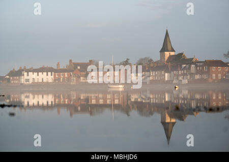 Bosham West Sussex, 11th April 2018.UK Weather, The village of Bosham in West sussex has woken to a bright but misty day giving a beautiful start to the already picturesque village. ©Photovision Images News / Alamy Live News. - Stock Image