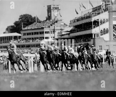 Jul 12, 1955; London, UK; Horses rounding the first bend during Ascot Stakes which was won by 'Wildnor,' ridden by C. Easton. The grandstand can be seen in background. - Stock Image