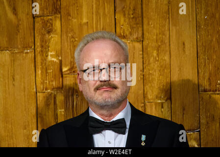 Riga, Latvia. 8th July 2019. Egils Levits, President of Latvia, during Reception in honour of the inauguration of President of Latvia Mr Egils Levits accompanied by First Lady of Latvia Mrs Andra Levite. Credit: Gints Ivuskans/Alamy Live News - Stock Image