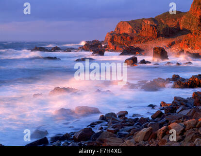 Stormy sunset at Hovs Haller on West Coast of Sweden - Stock Image