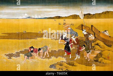 Katsushika Hokusai, Shell Gathering, painting, c. 1800-1849 - Stock Image