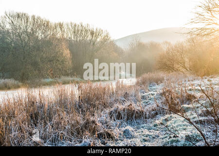 Aberystwyth Wales UK, 04/01/2019  UK Weather: A cold and frosty start to the day  on the banks of the River Rheidol in Aberystwyth , west Wales after a night of clear skies as a static high pressure system dominates the weather over the countryPhoto credit Keith Morris / Alamy Live News - Stock Image