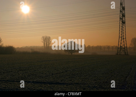 Autumn Sunset with power line - Stock Image