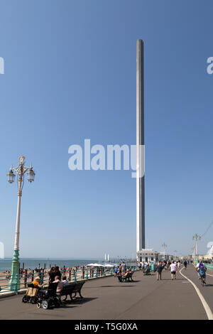 The British Airways i360 at Brighton in East Sussex, England. The 162-metre tall observation tower stands close to the old West Pier. - Stock Image