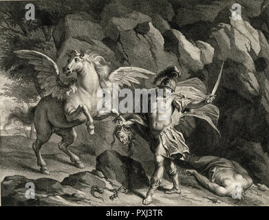 PERSEUS slays MEDUSA, not looking at her because to see her is fatal ; his horse Pegasus also looks away - Stock Image