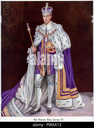 A coronation portrait of King George the sixth on May 12 1937 showing the king wearing his coronation robes the crown and carrying the orb and sceptre published in a coronation souvenir book published by the Daily Express dated 1937 and painted by Louis Dezart - Stock Image