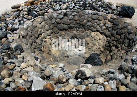 Mezcal Factory Nr Oaxaca, Mexico. Pits Where Agave Hearts are Cooked. - Stock Image