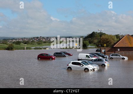 Weymouth Rains Flood the Town Prior to the Weymouth Sailing Olympics with Cars Underwater - Stock Image